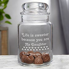 Personalized Glass Candy Jar - You Make Life Sweet Design - 3728