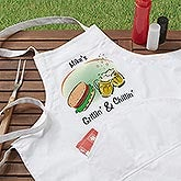 Personalized BBQ Apron and Potholder - Grilling and Chilling - 3765
