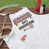 Personalized Grilling Apron and Potholder - Stand Back Design - 3767