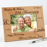 Engraved Wood Anniversary Picture Frame - Forever and Always Design - 3818