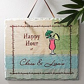 Personalized Happy Hour Home Bar Slate Plaque - 3859