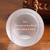 Personalized Crystal All Star Baseball Paperweight - 3894