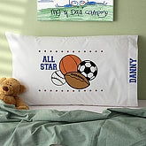 Personalized Kids Pillowcase - All Star Sports Design - 3931