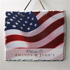 Personalized Slate Wall Plaque - American Flag Stars & Stripes Design - 3986