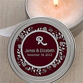 Personalized Candle Tin Favors - Floral Monogram - 3999