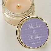 Personalized Candle Tin Wedding Favors - Love Is Patient Design - 4004