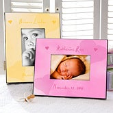 Personalized Baby Picture Frame - Watercolor Art Heart Design - 4038