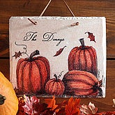 Personalized Autumn Pumpkin Slate Wall Plaque - 4159