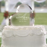 Heart Shaped Personalized Wedding Cake Topper - Elegant Monogram - 4195