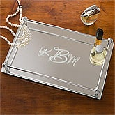 Monogram Mirrored Vanity Tray - Single Initial Design - 4202