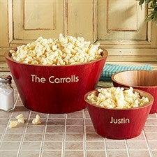 Hardwood Personalized Popcorn Bowl Set - 4242