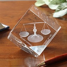 3-D Crystal Scales of Justice Personalized Lawyer Gift - 4268