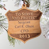 Personalized Police Wood Christmas Ornament - To Serve and Protect - 4275