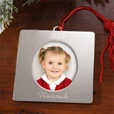 Personalized Silver Picture Frame Christmas Ornaments - 4276