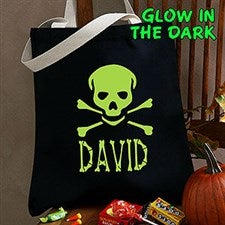 Personalized Glow In The Dark Treat Bag - Skull and Crossbones - 4285