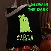 Personalized Glow In The Dark Halloween Treat Bag - Girl Ghost - 4286