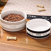 Personalized Ceramic Dog Bowls - Doggie Diner - 4296