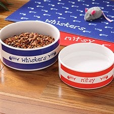 Personalized Ceramic Cat Bowls - Kitty Kitchen - 4299
