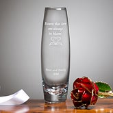 24K Gold Plated Live Rose and Personalized Bud Vase - 4309