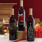 Personalized Christmas Wine Bottle - Holly
