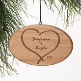 Personalized Wood Christmas Ornaments - Together Forever Heart - 4345