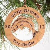 Gone Fishing Personalized Christmas Ornaments - 4350