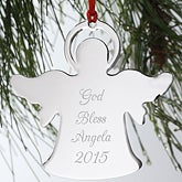 Engraved Silver Personalized Angel Christmas Ornament - 4380