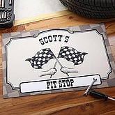 Personalized Checkered Flag Pit Stop Racing Door Mat - 4398