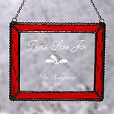 Personalized Glass Christmas Suncatcher - Peace Love Joy Design - 4416
