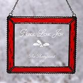 Personalized Glass Christmas Suncatcher - Peace Love Joy Design - 4416