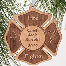 Personalized Fire Fighter Wood Christmas Ornament - 4436