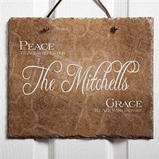 Personalized Family Name Welcome Slate - Peaceful Welcome Design - 4451