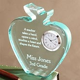 Personalized Teachers Acrylic Apple Clock - 4458