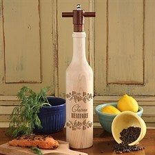 Personalized Pepper Mill - Chef's Collection Wooden Wine Bottle Design - 4495
