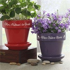 Personalized Teacher's Flower Pots - 4498