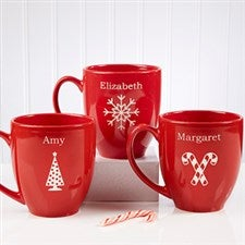 Red Personalized Holiday Mugs with Hot Cocoa - 4499