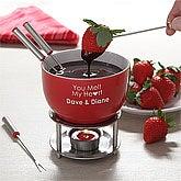 Personalized Chocolate Fondue Set - You Warm My Heart - 4541