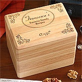 Engraved Wooden Recipe Box - Family Favorites