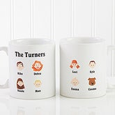 Personalized Illustrated Family Character Coffee Mug - 4598