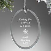 Personalized Corporate Christmas Ornaments - Glass Oval - 4632