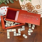 Engraved Playing Card And Domino Wooden Box Game Set - 4650
