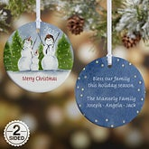 Snowman Family Personalized Porcelain Christmas Ornaments - 4687