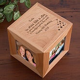 Engraved Wooden Photo Cube Frame - You Shine Like a Star Design - 4705
