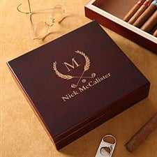 Personalized Cherry Wood Cigar Humidor - Golf Club Design - 4753
