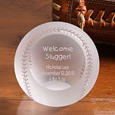 Personalized Crystal Baseball Paperweight - Welcome Slugger - 4780