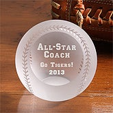 Personalized All Star Engraved Crystal Baseball  - 4781