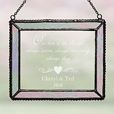 Engraved Iridescent Glass Suncatcher - Romantic Couples Design - 4789