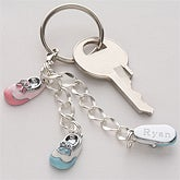Personalized Sterling Silver Baby Bootie Keychain - 4794D