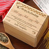 Recipe For Friendship Personalized Wood Recipe Box - 4809