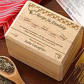 Recipe For Friendship Personalized Wood Recipe Box - 4809